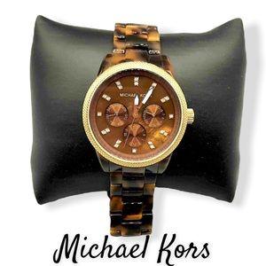 Authentic Michael Kors Tortoiseshell Acrylic Gold Plated 43 mm Watch
